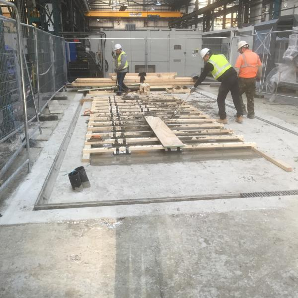 Reinforced concrete machine base being completed. Constructed on 150mm steel cased piles.