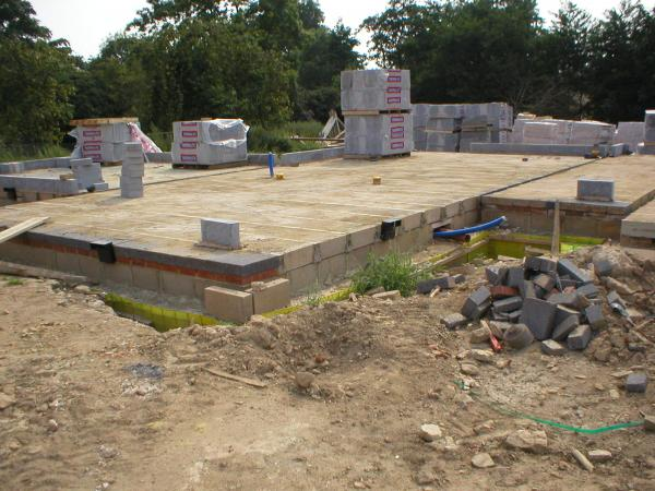New dwelling being constructed upon piled ground beam with Pecafil Formwork. 220 mm diam
